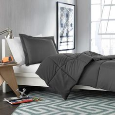 Solid Comforter Set in Forged Iron - BedBathandBeyond.com A little dark on the gray but, it could work and comes in Twin-XL