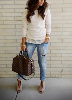 Neutral jeans handbag casual shirt