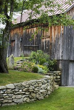 Old Country Barn Great stacked stone retaining wall.except for the snakes. Stone Retaining Wall, Garden Retaining Wall, Retaining Walls, Stone Landscaping, Backyard Landscaping, Landscaping Ideas, Landscape Design, Garden Design, Landscape Solutions