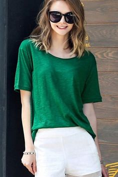 Green+Round+Neck+Short+Sleeve+Casual+Tee+Top+#Green+#Top+#maykool