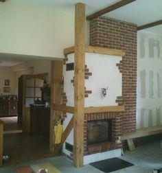 kominek rustykalny z ręcznie formowanej cegły i belek dębowych t39