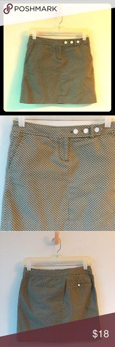 J Crew Polka Dot Skirt Tiny white polka dots on olive green cotton background. JCrew Skirts Mini