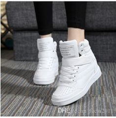 2017 spring autumn ankle boots heels shoes women casual shoes height increased wedges shoes high top