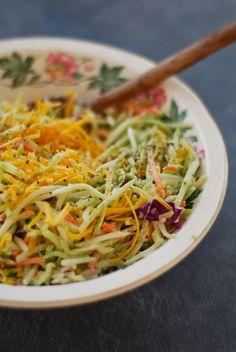 Cheddar Broccoli Slaw  http://www.chindeep.com/2013/03/21/cheddar-broccoli-slaw/