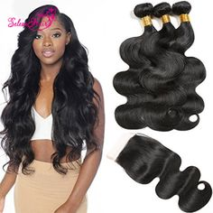 Seleonhair 3 Bundles Brazilian Body Wave Hair With Lace Closure