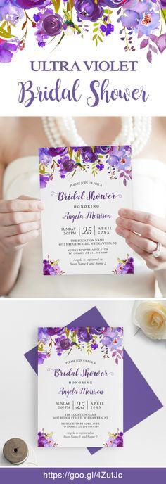 Ultra Violet Purple Floral Bridal Shower Invitations #bridalshower #bridalshowerideas #ultraviolet