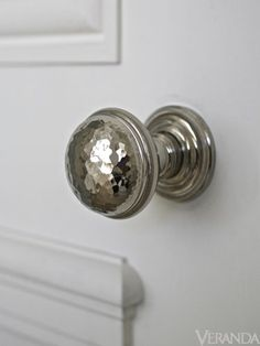 Hand Hammered Door Knob One of my favorite pieces of hardware from Nanz. With its hand hammered ridges, the knob has an interesting reflection and can give a more modern twist to more traditional French doors. It is the perfect example of how you can do u Door Knobs And Knockers, Knobs And Handles, Knobs And Pulls, Door Handles, Drawer Pulls, Home Hardware, Kitchen Hardware, Architect Design, Decoration