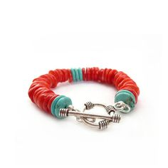 Southwestern Style Coral & Turquoise by RockStoneTreasures on Etsy