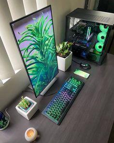 Gaming Desk Setup, Gamer Setup, Pc Desk, Computer Setup, Computer Build, Best Pc Setup, Small Home Offices, Bedroom Setup, Home Office Setup
