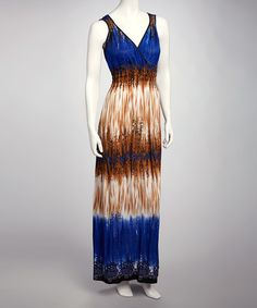 Take a look at this Blue & Brown Surplice Maxi Dress by Earth Song on #zulily today!