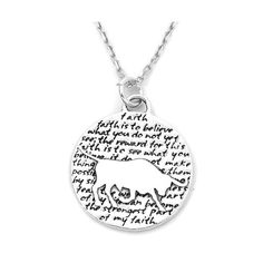 Taurus (Faith quote) Sterling Silver Large Pendant Necklace (Chain Length Option)