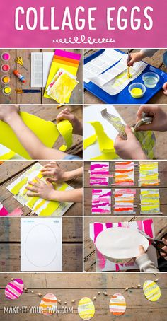 Collage Easter Eggs: Use painted newspaper, corrugated paper and paintings to create this unique Easter art activity.