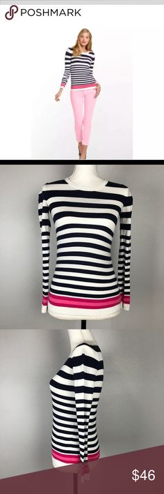 """Lilly Pulitzer S Multicolor Striped Jessie Sweater Lilly Pulitzer Women's Size S Multicolor Striped Long Sleeve Jessie Sweater in great condition, looks great (please see pictures for condition and use zoom if necessary). Measurements: Armpit to armpit: 15"""" Back Across: 12"""" Length: 23"""" Sleeve length: 17 1/2"""" Waist: 30"""" Size: S Please confirm measurements with what you wear or with your personal measurements. We want this to fit you well so double checking the measurements might save you from…"""
