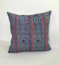 20x20 Pillow  Indigo Blue Hmong Handwoven by LuluandDotInteriors