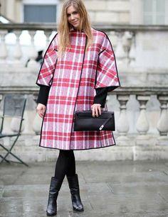 LFW AW14 street style - Coat: Celine, Shoes: Chanel, Bag: Hermes