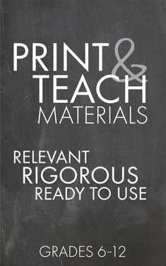 Resources for high school and middle school English teachers. Print tonight, teach tomorrow!