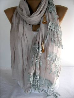 A personal favorite from my Etsy shop https://www.etsy.com/listing/185984870/elegant-scarf-with-lace-edge-gift-ideas