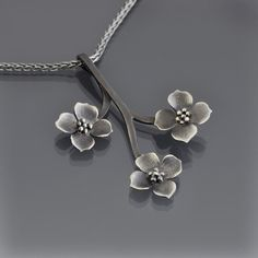 Sterling Silver Dogwood Branch Necklace by Lisa Hopkins Design