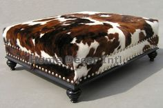 Get this stunning Natural Cowhide Ottoman for your living room here Cowhide Decor, Cowhide Furniture, Cowhide Ottoman, Ottoman Decor, Western Furniture, Country Furniture, Cool Furniture, Chesterfield Furniture, Cottage Furniture