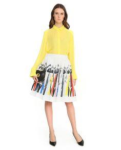Если вы решили надеть юбку с ярким принтом в технике поп-арт, советуем добавить к ней однотонную рубашку насыщенного оттенка в тон фрагментов рисунка. Образ получится динамичным и свежим.#berezka #new #ss16 #RedValentino #TaraJarmon #AliceOlivia #berezkaonline Ss16, Tree Branches, Midi Skirt, Art Pieces, Skirts, How To Make, Fashion, Moda, Skirt