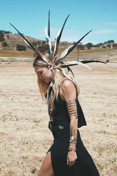 wild and free statement feather ear cuff Large by SpiritTribe music festival, festival style, wildandfreejewerly, coachella, LIB, feather ear cuff, headdress, tribal style, boho style, hair, accesories, wild and free