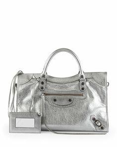 Classic Metallic City Bag, Silver by Balenciaga at Neiman Marcus.