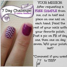 I love giving out FREE samples.  Try the Jamberry 7 day Challenge. Get your FREE sample and take the challenge!! Post your pictures to: https://www.facebook.com/HeidiMartensJamberry