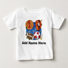 Shop All Star Sports Birthday Tshirts and Gifts created by kids_birthdays. Personalize it with photos & text or purchase as is! Football First Birthday, Sports Birthday, 2nd Birthday, Hoodie Sweatshirts, Personalized Shirts, Sport T Shirt, Shirt Shop, Cotton Tee, All Star