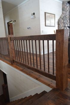 Reclaimed wood timber stair railings photos - house and flat decorations Indoor Railing, Loft Railing, Stair Banister, Loft Stairs, Railing Ideas, Wood Railings For Stairs, Rebar Railing, Bannister Ideas, Banisters
