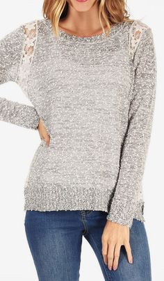 Gray Lace-Patch Boatneck Sweater [ BedsideHealers.com ] #fashion #comfort #healer