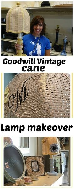 #Vintage cane lampshade and lamp makeover