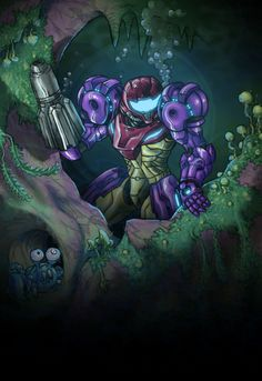 I'm quite proud of this one, spent more time than usual on it. It's Samus in the Gravity suit exploring Maridia. Completely done in photoshop, drawn and colored, and then a few filters to...