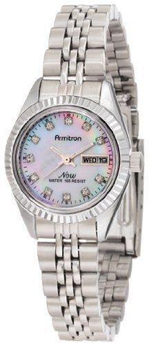 Armitron NOW Women's 752475MPSV Swarovski Crystal Accented Silver-Tone Bracelet Watch Armitron. $37.49. Silver-tone luminous hands; Calendar at 3 o'clock. Swarovski crystal hour markers on a pink Mother-Of-Pearl dial. Water-resistant to 165 feet (50 M). Silver-tone case and bracelet; Fold-over clasp. Sweep second hand. Save 25%!