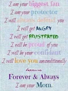 ♡♡♡ Mom's Love Letter to Child. I am your biggest fan and protector. I will love you unconditionally.