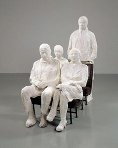 George Segal - Bus Riders, 1962. Hirschorn Museum. The figures he made were put into environments. Segal's works portray life's banal activities, intimate activities, and political subjects. All of these situations highlight the routine that everyone follows . Segal's figures appear to be frozen in time.