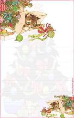 Papier à lettre à imprimer Temps des Fêtes Free Printable Stationery, Printable Scrapbook Paper, Christmas Envelopes, Christmas Stationery, Stationery Paper, Writing Paper, Note Paper, Paper Decorations, Journal Cards