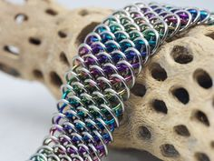 Chainmail Dragonscale Bracelet made of Anodized by MailleArtNagi