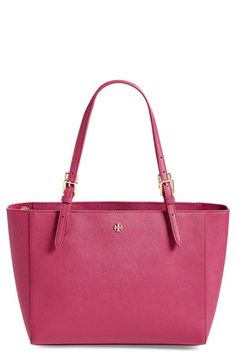 *black or raspberry Tory Burch 'Small York' Saffiano Leather Buckle Tote available at #Nordstrom
