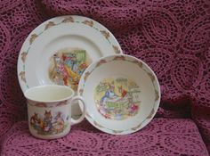 Sold Bunnykins Royal Doulton Children's Dish Set English by BeaJays .............. Dress Up Baking Day Prams Bunnies Fine China British Fine China English Bone China $30 the perfect anglophile gift and for anyone who loves Beatrix Potter