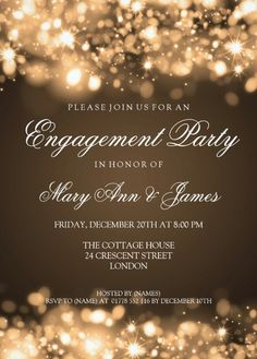 Sparkling lights engagement invitation to friends. Features an elegant modern sparkling golden lights on sepia brown background. Customized online!
