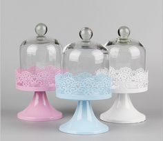 High quality wholesale party delicate iron cake plate/cake stand/serving stand with glass cake dome 2pcs/lot KM1013