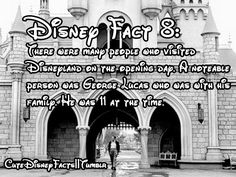 Disney Fact 8:  There were many people who visited Disneyland on the opening day.  A notable person was George Lucas, who was with his family.  He was 11 at the time.