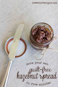 make your own hazlenut spread takes five minutes and is SO easy! No sugar or dairy and tastes better than nutella no sugar diet, brown sugar, hazlenut spread, sea salt, dairy free, no dairy diet, coconut oil, hazelnut spread