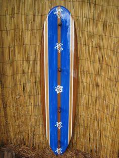 Tiki Soul Decorative Surfboard Towel Rack  by TikiSoulSurfboards, Surfboard decor, beach decor, surfer, decorative surfboard wall art