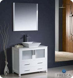 "Fresca Torino 36"" White Modern #Bathroom #Vanity w/ #Vessel #Sink at @Menards   #someday"