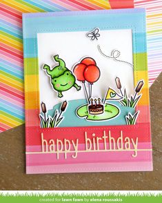 Elena added a rainbow of color to her delightful Toadally Awesome Card! It's Really Rainbow day at the Lawn Fawn blog! Check it out, tap…