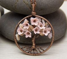 Tree Of Life Necklace Pendant Copper Wire Wrapped Pendant Brown Wired Copper Jewelry Wire Wrapped ModernTree Pink Opal Necklace Rustic