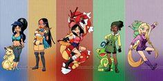 Disney Pokemon style Jasmine, Pocahontas, Mulan, Tiana, and Rapunzel Pokemon Crossover, Anime Crossover, Pokemon Mashup, Disney Crossovers, Cartoon Crossovers, Disney Princess Art, Disney Fan Art, Dreamworks, Cute Animal Drawings Kawaii