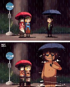 Attack on Titan - Chibi Mikasa, Armin, and Eren : Attack on Totoro Manga Anime, Fanarts Anime, Anime Meme, Anime Art, Otaku Anime, Attack On Titan Funny, Attack On Titan Anime, Attack On Titan Crossover, Corpse Party