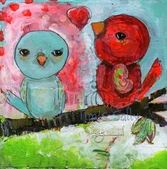 Twitterpated mixed media art print by Mindy by timssally on Etsy